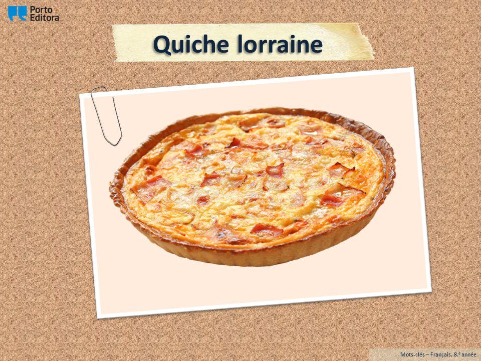 La quiche lorraine est une tarte salée (des œufs, de la crème fraîche et du lardon fumé ou salé).