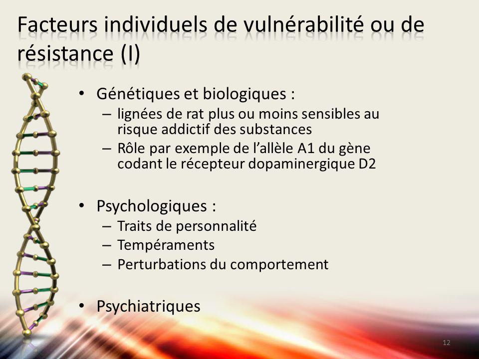 Génétiques et biologiques : – lignées de rat plus ou moins sensibles au risque addictif des substances – Rôle par exemple de l'allèle A1 du gène codan