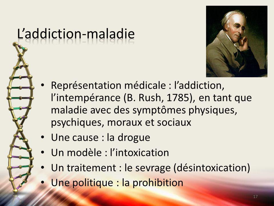 Représentation médicale : l'addiction, l'intempérance (B. Rush, 1785), en tant que maladie avec des symptômes physiques, psychiques, moraux et sociaux