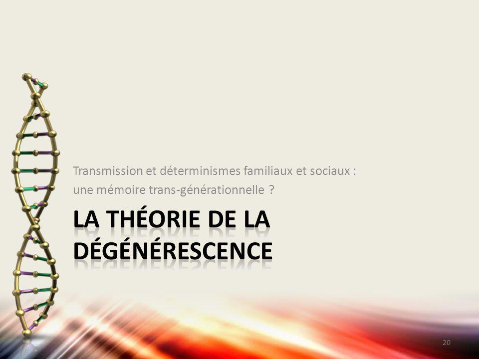 Transmission et déterminismes familiaux et sociaux : une mémoire trans-générationnelle ? 20