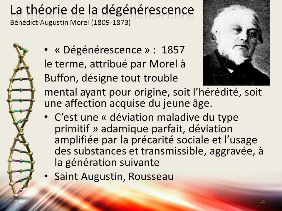 « Dégénérescence » : 1857 le terme, attribué par Morel à Buffon, désigne tout trouble mental ayant pour origine, soit l'hérédité, soit une affection a