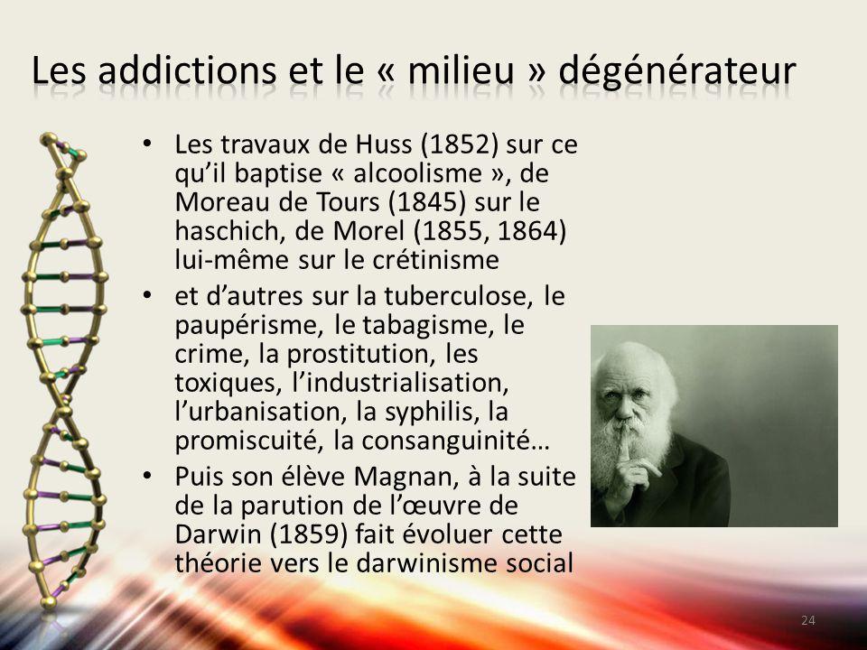 Les travaux de Huss (1852) sur ce qu'il baptise « alcoolisme », de Moreau de Tours (1845) sur le haschich, de Morel (1855, 1864) lui-même sur le créti