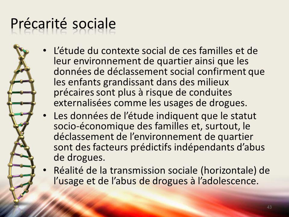 L'étude du contexte social de ces familles et de leur environnement de quartier ainsi que les données de déclassement social confirment que les enfant