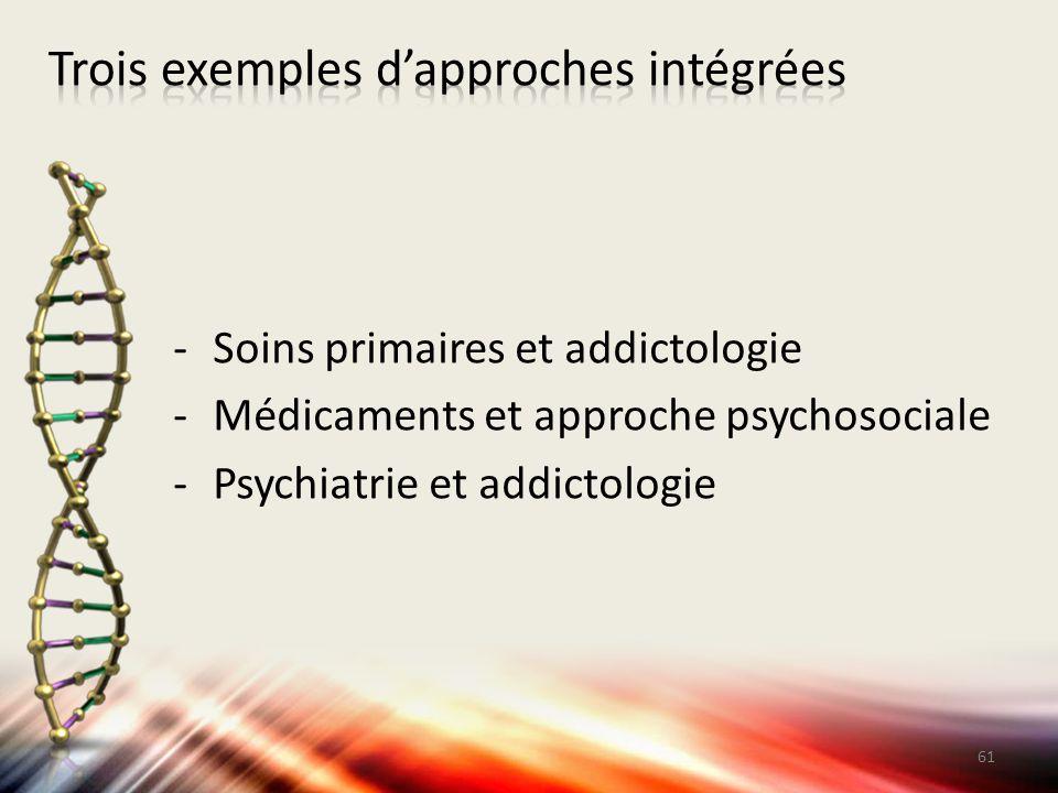 -Soins primaires et addictologie -Médicaments et approche psychosociale -Psychiatrie et addictologie 61