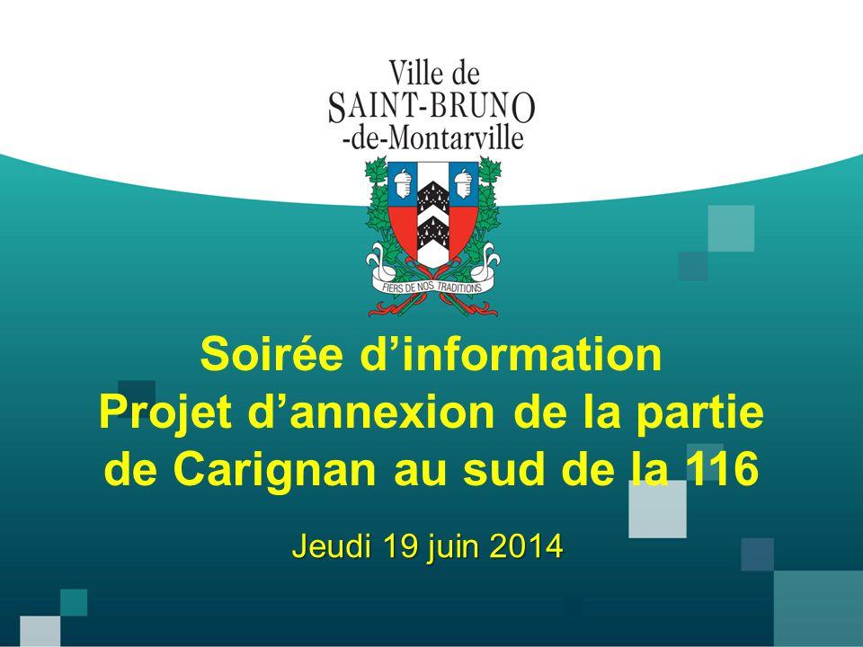 Soirée d'information Projet d'annexion de la partie de Carignan au sud de la 116 Jeudi 19 juin 2014