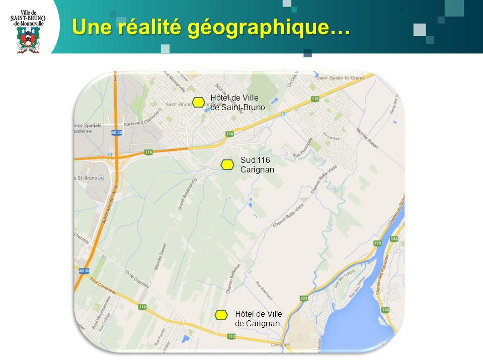 Une réalité géographique… Hôtel de Ville de Carignan Sud 116 Carignan Hôtel de Ville de Saint-Bruno