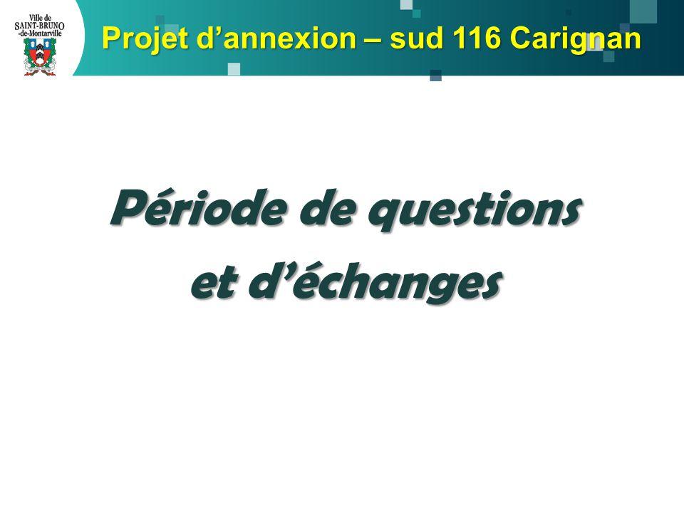 Période de questions et d'échanges Projet d'annexion – sud 116 Carignan