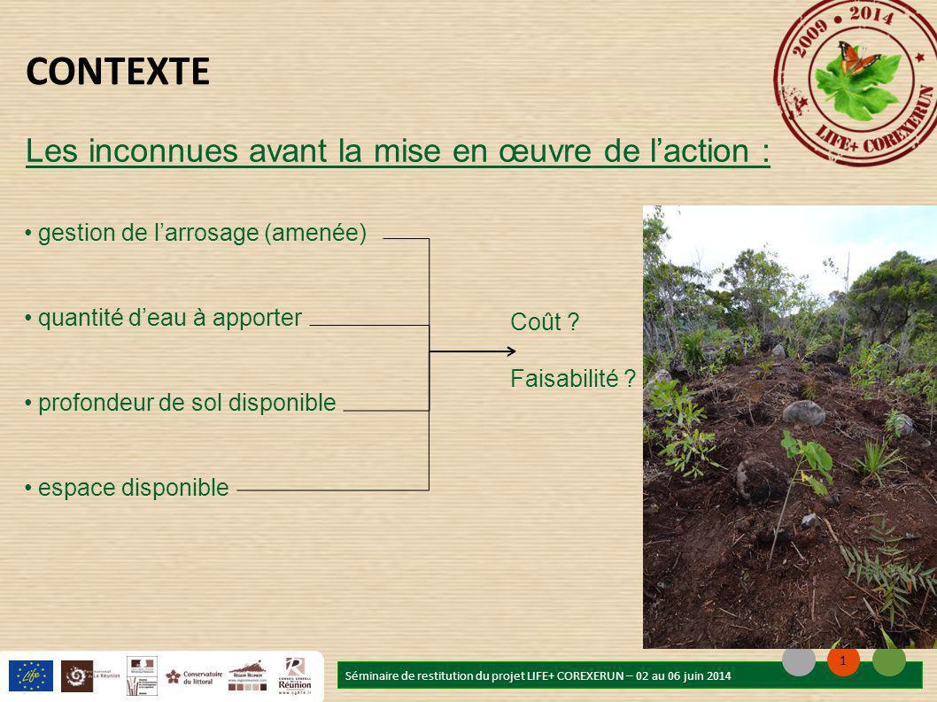 gestion de l'arrosage (amenée) quantité d'eau à apporter profondeur de sol disponible espace disponible Séminaire de restitution du projet LIFE+ COREXERUN – 02 au 06 juin 2014 1 CONTEXTE Coût .