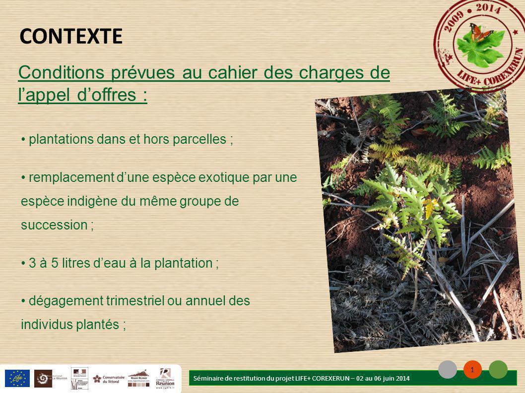 Déroulement : plantations sur 2 saisons des pluies au lieu d'1 seule ; intervention conjointe ONF / GCEIP ; diminution du nombre de plants à réintroduire dans les parcelles Séminaire de restitution du projet LIFE+ COREXERUN – 02 au 06 juin 2014 1 REALISATION