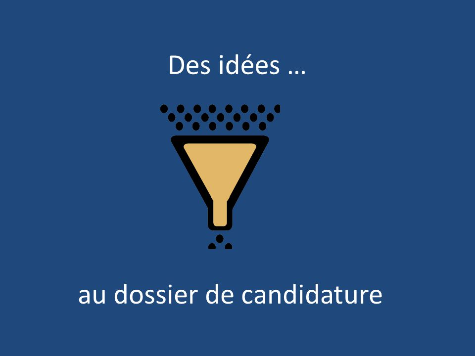 Des idées … au dossier de candidature
