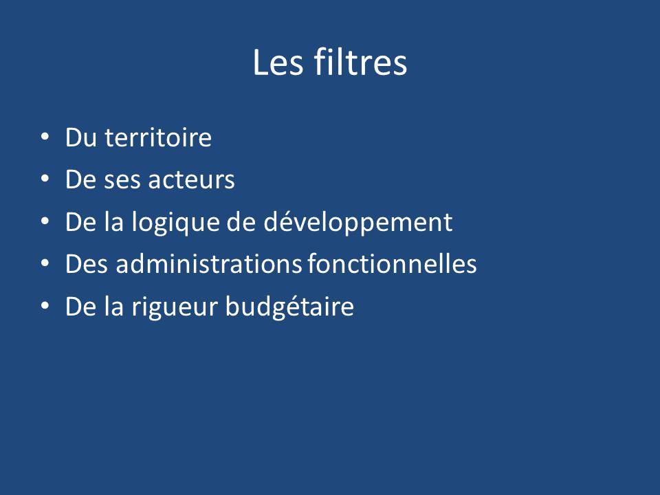 Les filtres Du territoire De ses acteurs De la logique de développement Des administrations fonctionnelles De la rigueur budgétaire