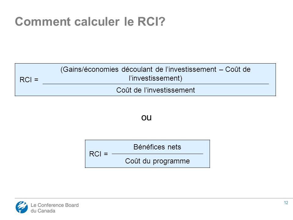 12 ou Comment calculer le RCI.