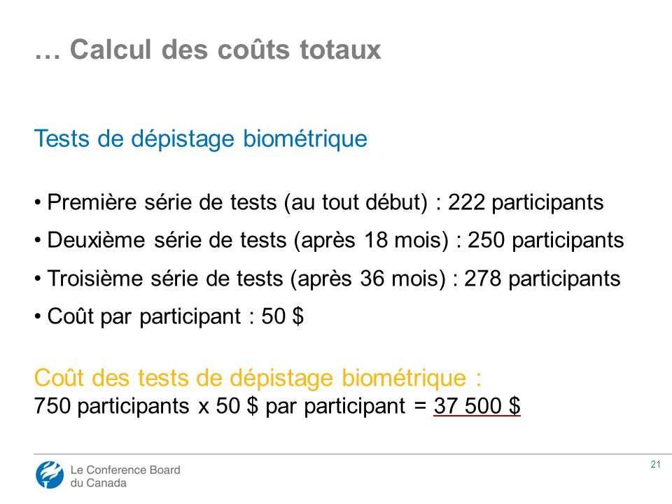 21 Tests de dépistage biométrique Première série de tests (au tout début) : 222 participants Deuxième série de tests (après 18 mois) : 250 participants Troisième série de tests (après 36 mois) : 278 participants Coût par participant : 50 $ Coût des tests de dépistage biométrique : 750 participants x 50 $ par participant = … Calcul des coûts totaux 37 500 $
