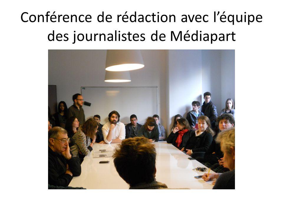 Conférence de rédaction avec l'équipe des journalistes de Médiapart