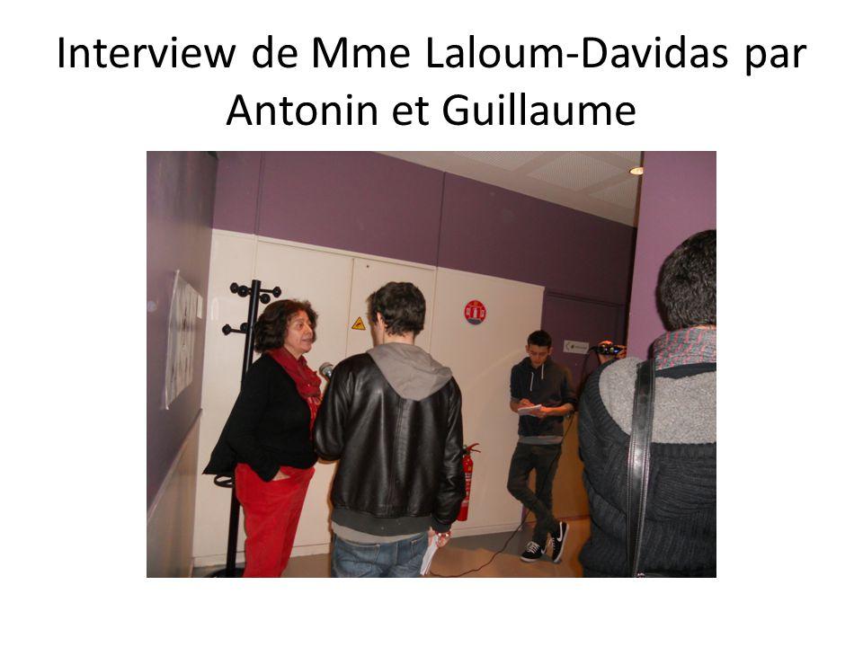 Interview de Mme Laloum-Davidas par Antonin et Guillaume
