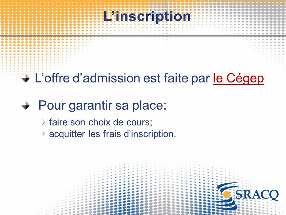 L'offre d'admission est faite par le Cégep Pour garantir sa place: faire son choix de cours; acquitter les frais d'inscription.