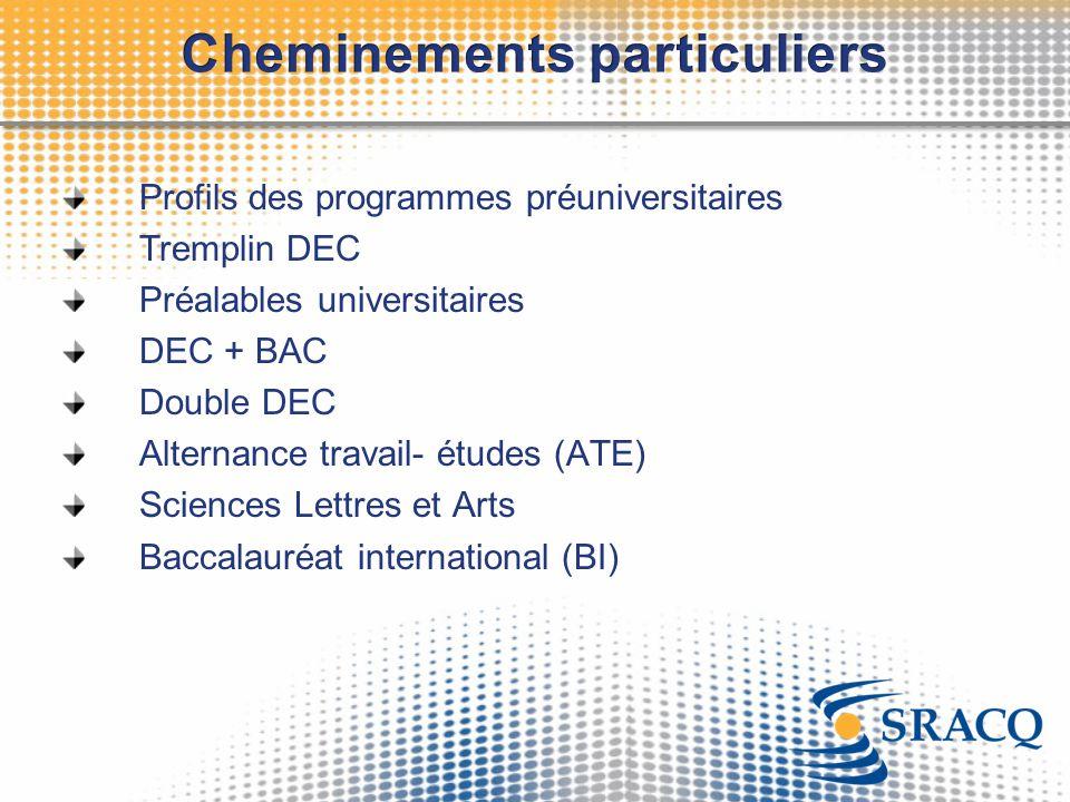 Profils des programmes préuniversitaires Tremplin DEC Préalables universitaires DEC + BAC Double DEC Alternance travail- études (ATE) Sciences Lettres