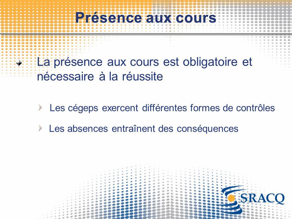La présence aux cours est obligatoire et nécessaire à la réussite Les cégeps exercent différentes formes de contrôles Les absences entraînent des cons