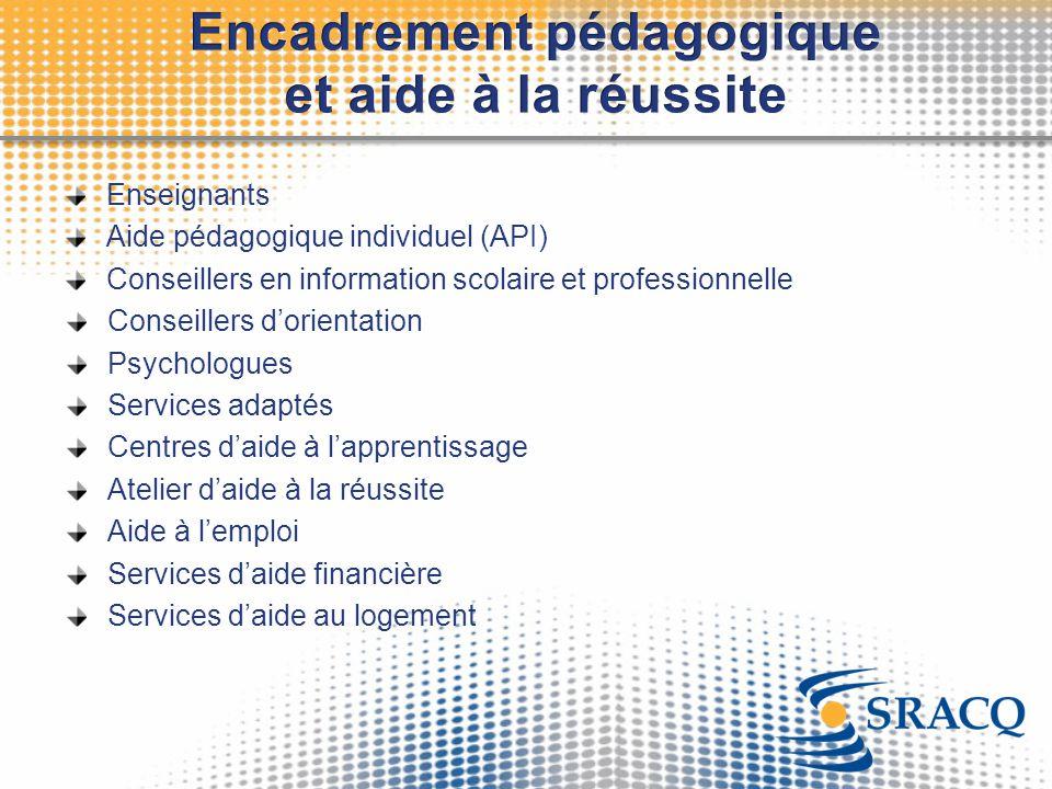 Enseignants Aide pédagogique individuel (API) Conseillers en information scolaire et professionnelle Conseillers d'orientation Psychologues Services a