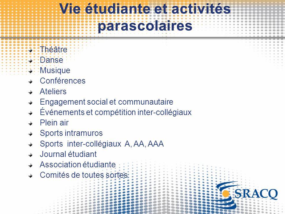 Théâtre Danse Musique Conférences Ateliers Engagement social et communautaire Événements et compétition inter-collégiaux Plein air Sports intramuros S
