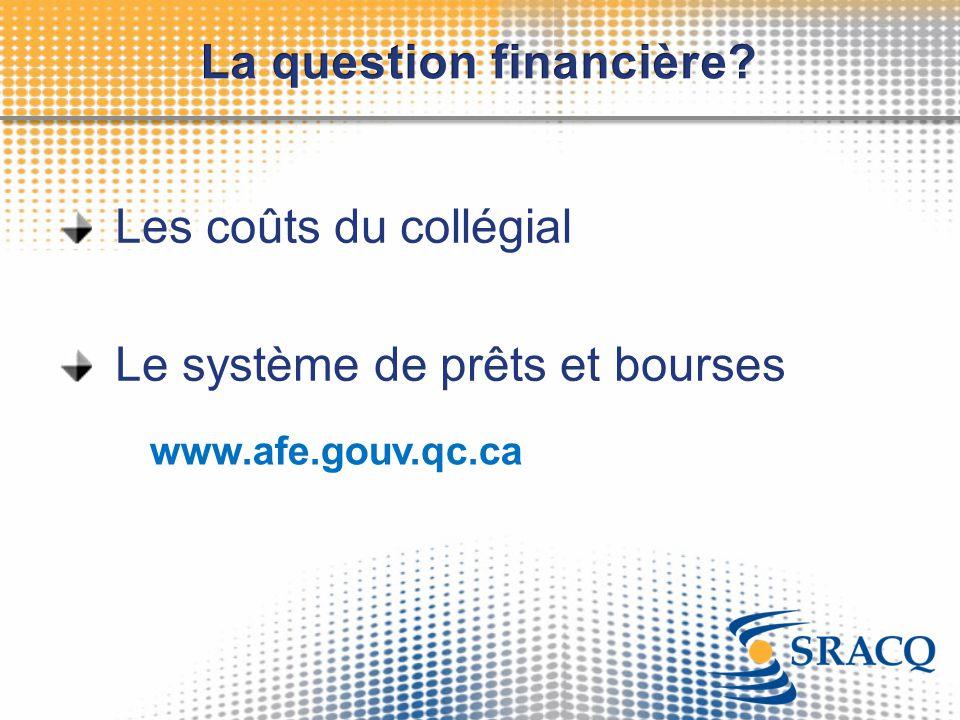 Les coûts du collégial Le système de prêts et bourses www.afe.gouv.qc.ca