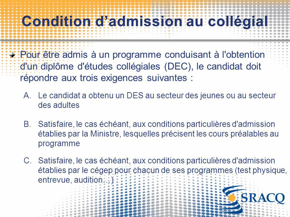 Pour être admis à un programme conduisant à l'obtention d'un diplôme d'études collégiales (DEC), le candidat doit répondre aux trois exigences suivant