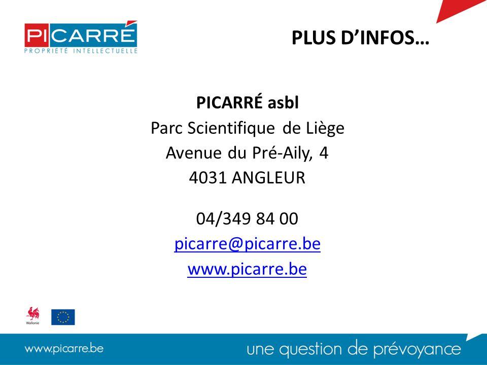 PICARRÉ asbl Parc Scientifique de Liège Avenue du Pré-Aily, 4 4031 ANGLEUR 04/349 84 00 picarre@picarre.be www.picarre.be PLUS D'INFOS…