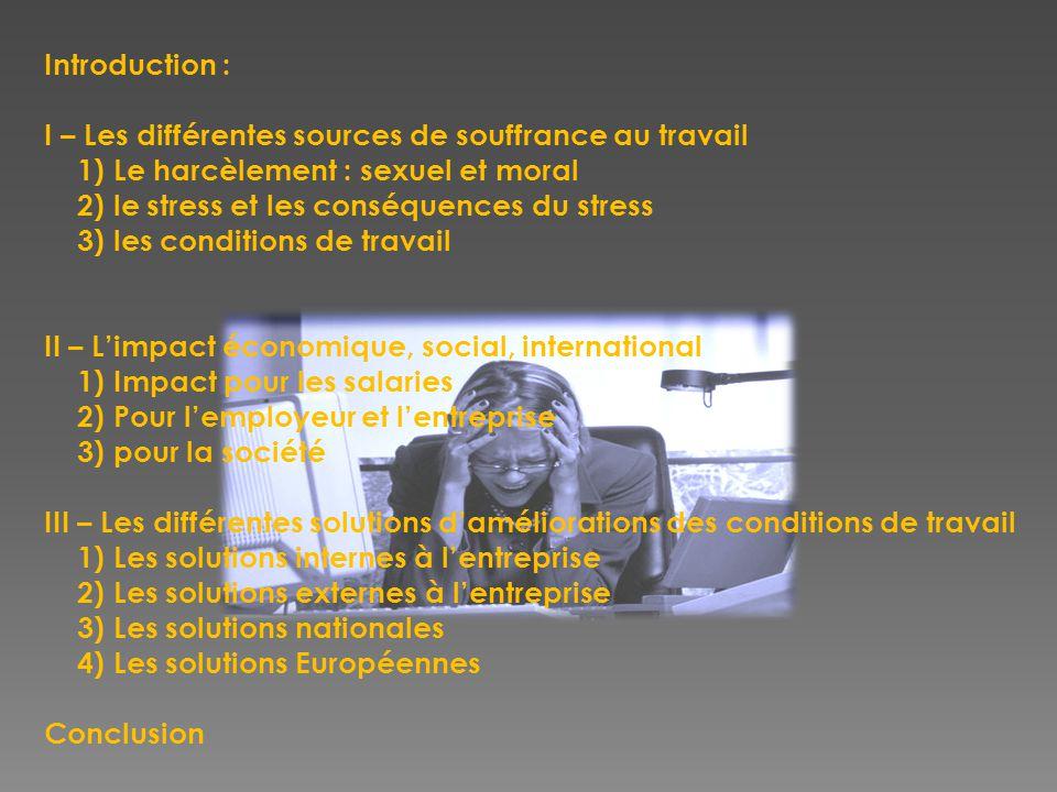 Introduction : I – Les différentes sources de souffrance au travail 1) Le harcèlement : sexuel et moral 2) le stress et les conséquences du stress 3) les conditions de travail II – L'impact économique, social, international 1) Impact pour les salaries 2) Pour l'employeur et l'entreprise 3) pour la société III – Les différentes solutions d'améliorations des conditions de travail 1) Les solutions internes à l'entreprise 2) Les solutions externes à l'entreprise 3) Les solutions nationales 4) Les solutions Européennes Conclusion