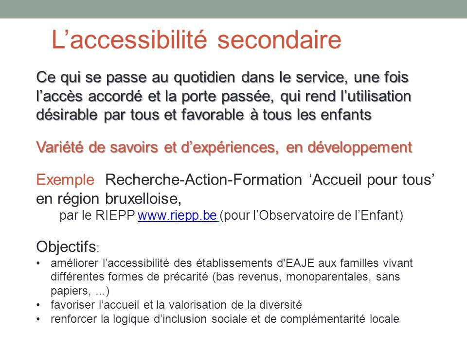 L'accessibilité secondaire Ce qui se passe au quotidien dans le service, une fois l'accès accordé et la porte passée, qui rend l'utilisation désirable par tous et favorable à tous les enfants Variété de savoirs et d'expériences, en développement Exemple Recherche-Action-Formation 'Accueil pour tous' en région bruxelloise, par le RIEPP www.riepp.be (pour l'Observatoire de l'Enfant)www.riepp.be Objectifs : améliorer l'accessibilité des établissements d EAJE aux familles vivant différentes formes de précarité (bas revenus, monoparentales, sans papiers,...) favoriser l'accueil et la valorisation de la diversité renforcer la logique d'inclusion sociale et de complémentarité locale