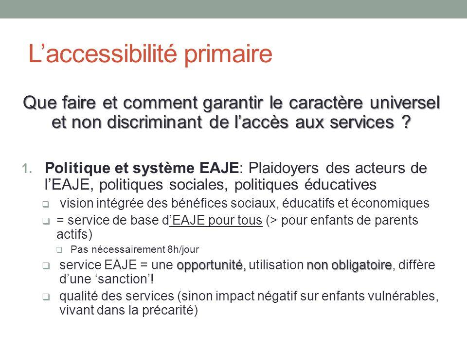 Que faire et comment garantir le caractère universel et non discriminant de l'accès aux services .