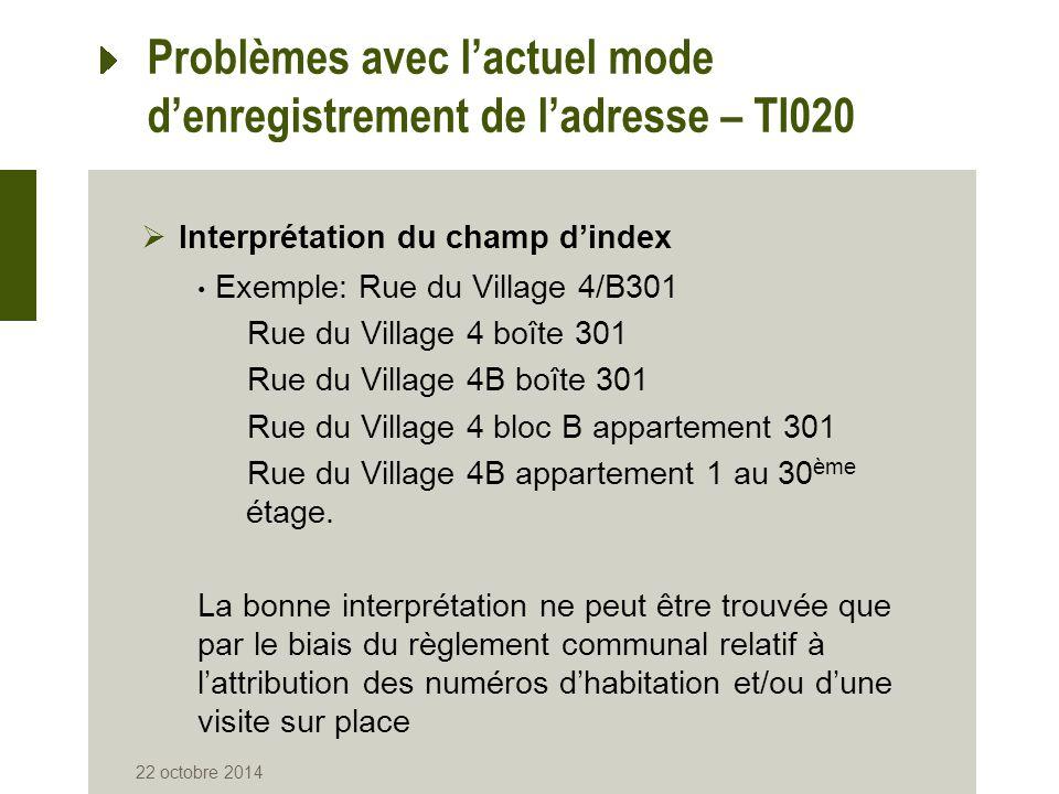 Problèmes avec l'actuel mode d'enregistrement de l'adresse – TI020  Interprétation du champ d'index Exemple: Rue du Village 4/B301 Rue du Village 4 b
