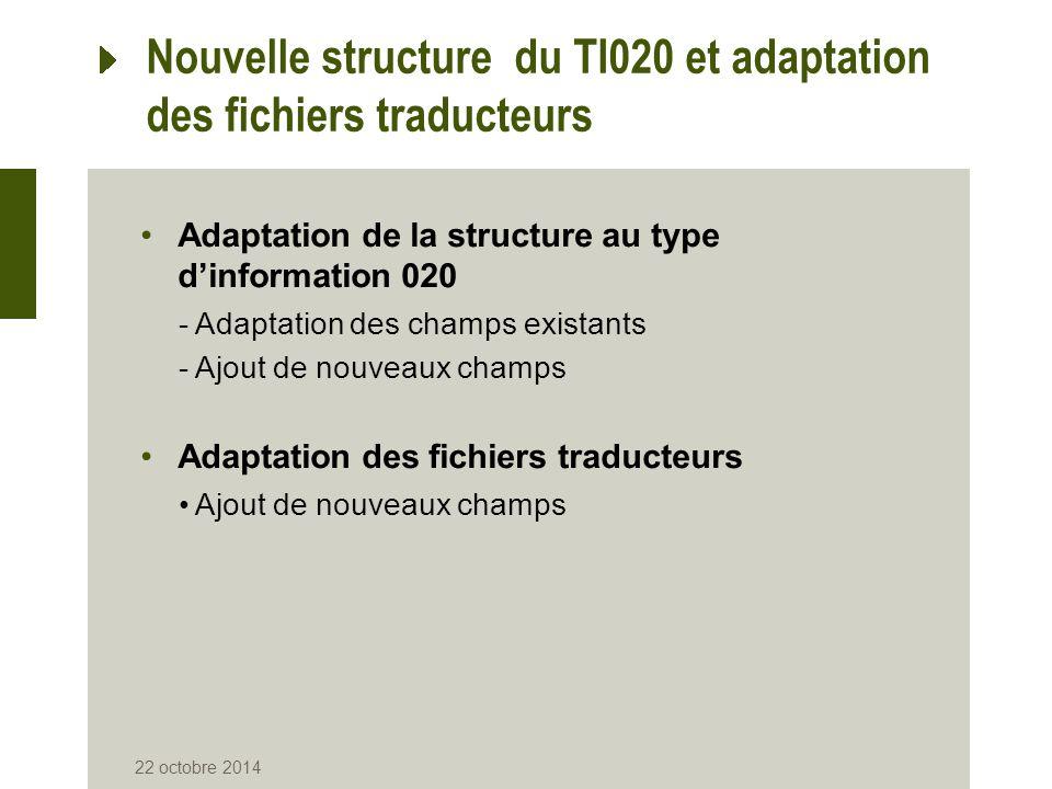Nouvelle structure du TI020 et adaptation des fichiers traducteurs Adaptation de la structure au type d'information 020 -Adaptation des champs existan