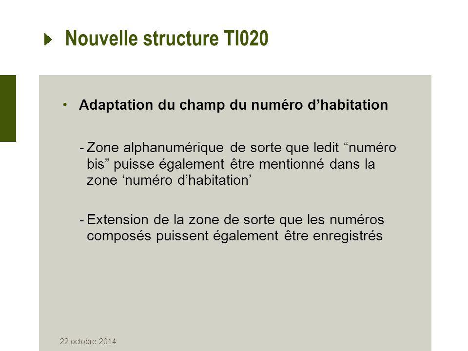 """Nouvelle structure TI020 Adaptation du champ du numéro d'habitation -Zone alphanumérique de sorte que ledit """"numéro bis"""" puisse également être mention"""