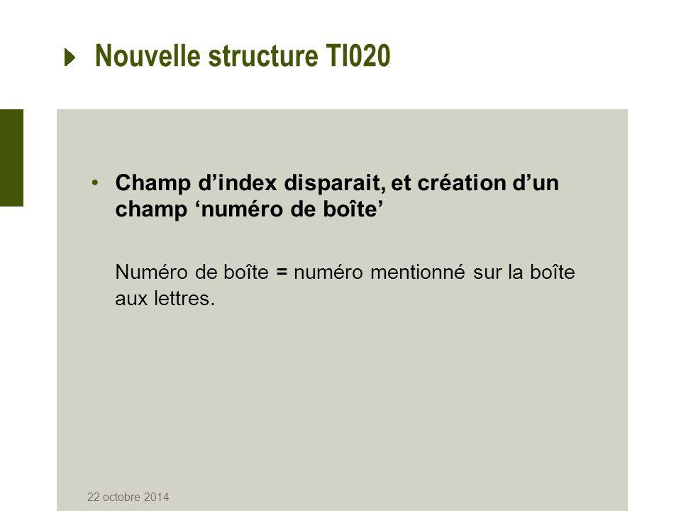 Nouvelle structure TI020 Champ d'index disparait, et création d'un champ 'numéro de boîte' Numéro de boîte = numéro mentionné sur la boîte aux lettres