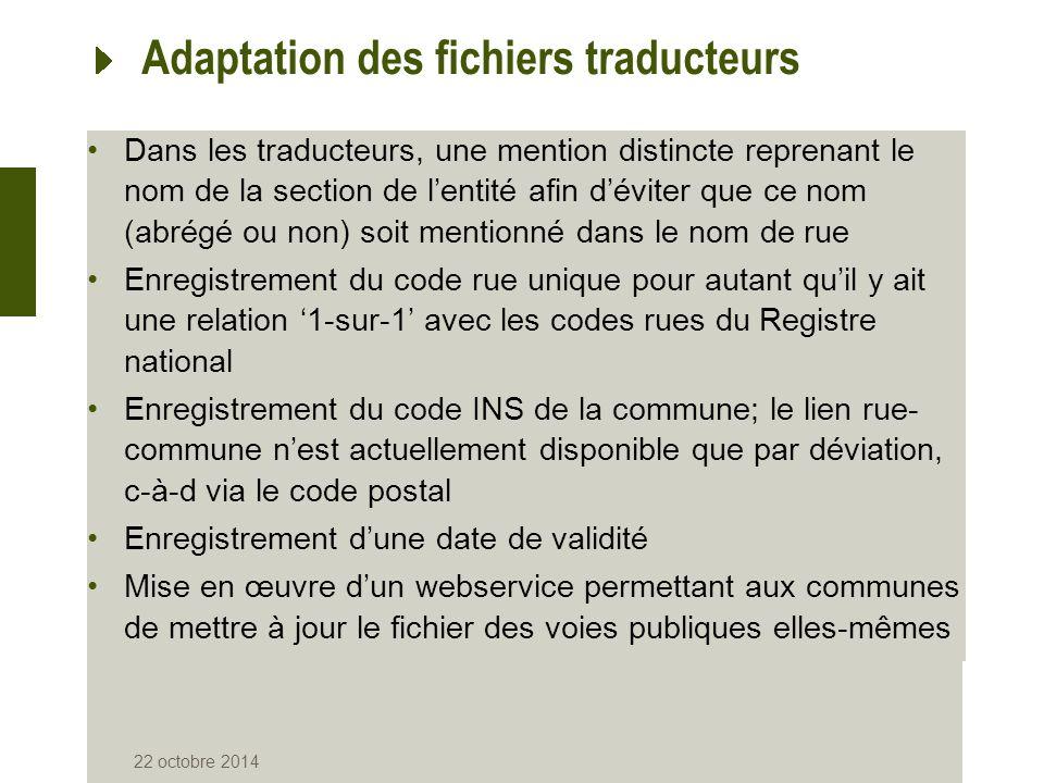 Adaptation des fichiers traducteurs Dans les traducteurs, une mention distincte reprenant le nom de la section de l'entité afin d'éviter que ce nom (a