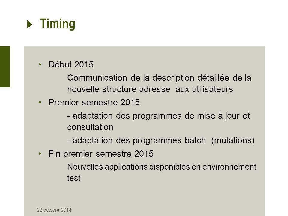 Timing Début 2015 Communication de la description détaillée de la nouvelle structure adresse aux utilisateurs Premier semestre 2015 - adaptation des p