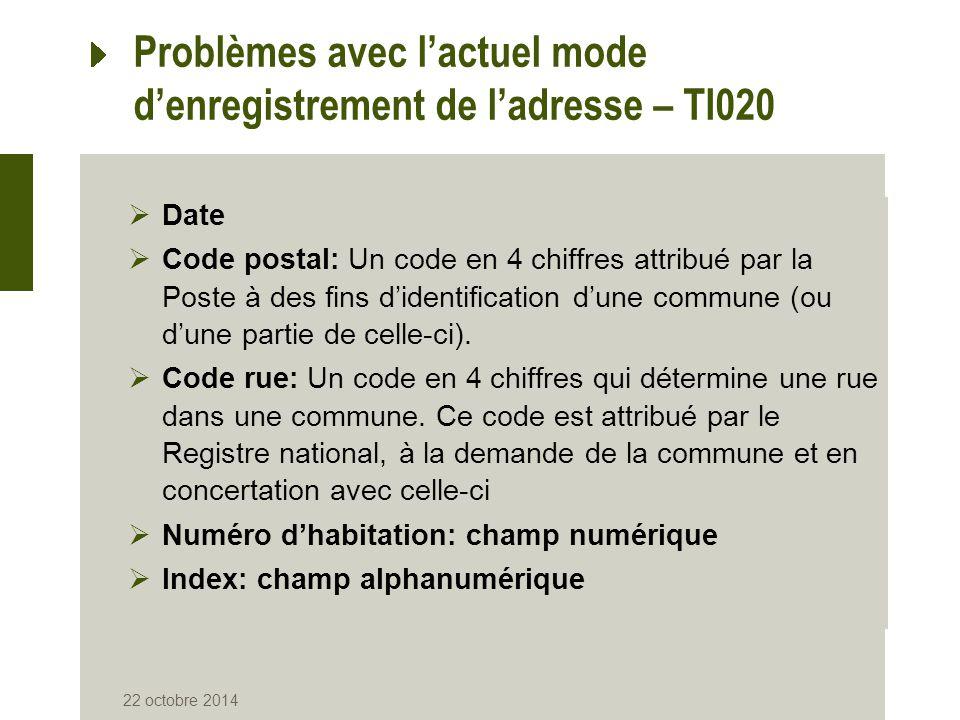 22 octobre 2014 Problèmes avec l'actuel mode d'enregistrement de l'adresse – TI020  Date  Code postal: Un code en 4 chiffres attribué par la Poste à