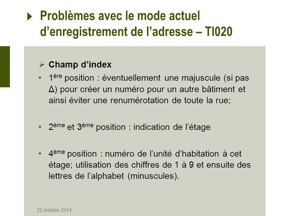 Problèmes avec le mode actuel d'enregistrement de l'adresse – TI020  Champ d'index 1 ère position : éventuellement une majuscule (si pas Δ) pour crée