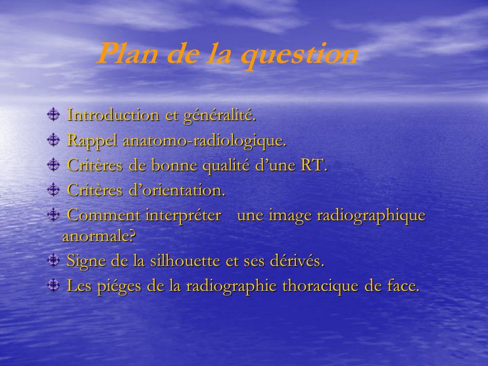Introduction et généralité(1) Introduction et généralité(1)  RT de face en orthostatisme.