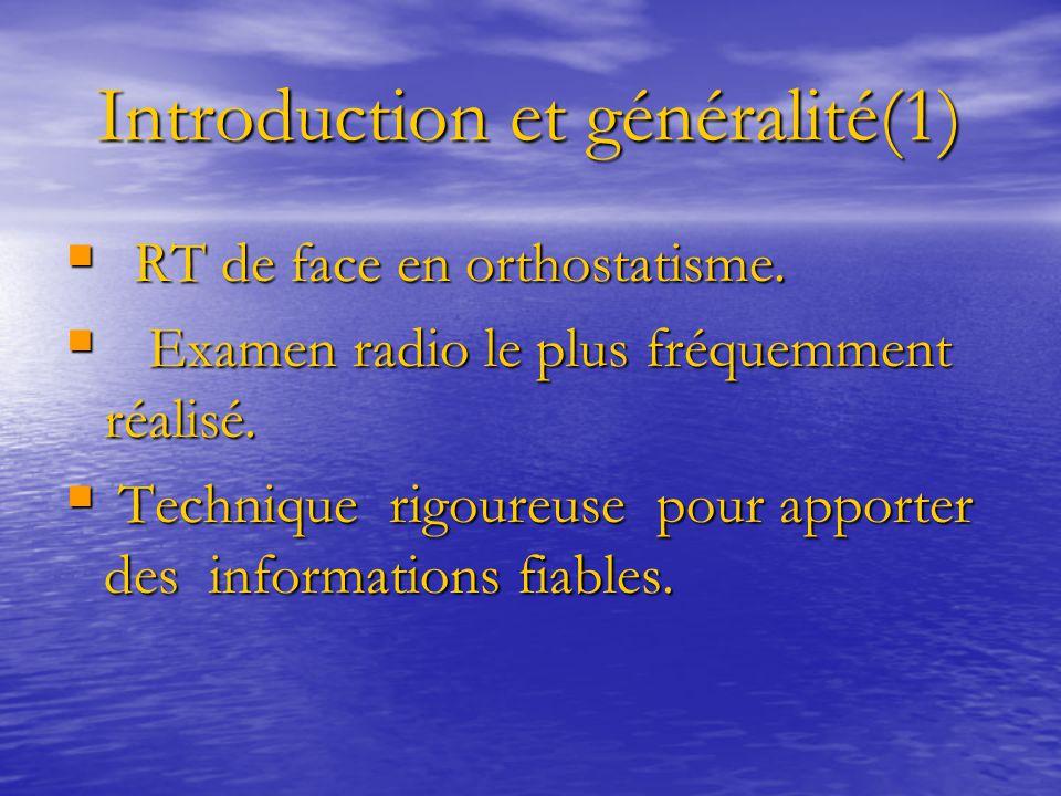 Introduction et généralité(1) Introduction et généralité(1)  RT de face en orthostatisme.  Examen radio le plus fréquemment réalisé.  Technique rig