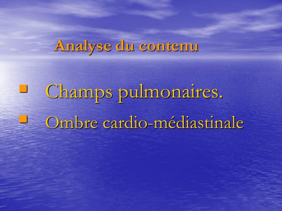 Analyse du contenu Analyse du contenu  Champs pulmonaires.  Ombre cardio-médiastinale