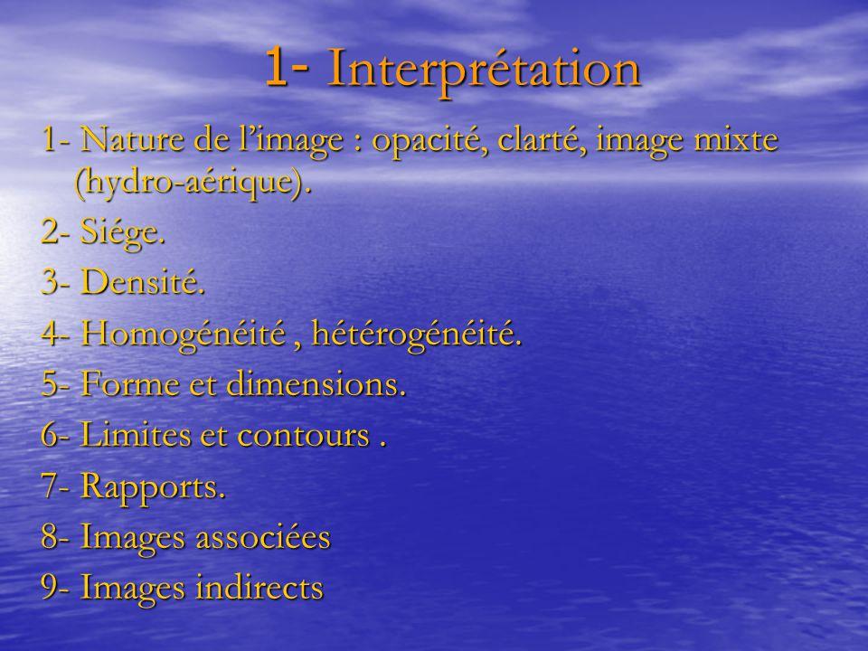 1- Interprétation 1- Interprétation 1- Nature de l'image : opacité, clarté, image mixte (hydro-aérique). 2- Siége. 3- Densité. 4- Homogénéité, hétérog