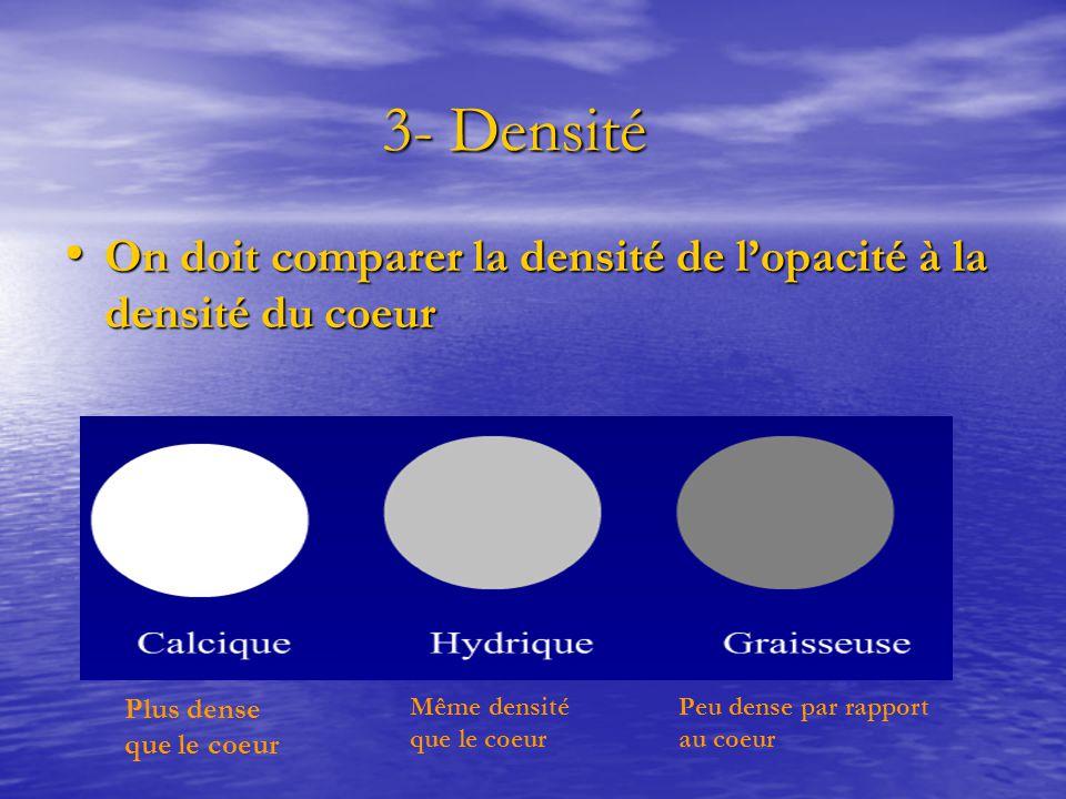 3- Densité 3- Densité On doit comparer la densité de l'opacité à la densité du coeur On doit comparer la densité de l'opacité à la densité du coeur Pl
