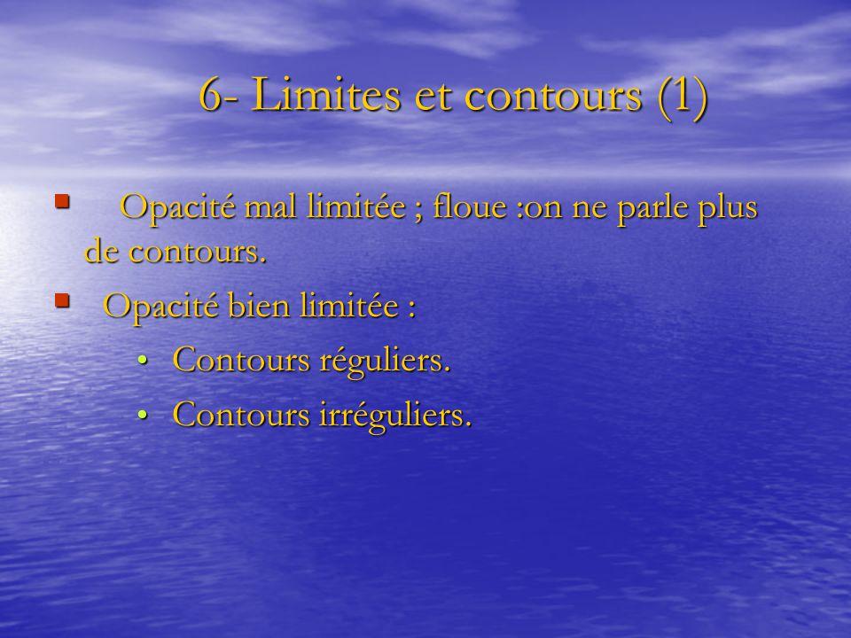 6- Limites et contours (1) 6- Limites et contours (1)  Opacité mal limitée ; floue :on ne parle plus de contours.  Opacité bien limitée : Contours r