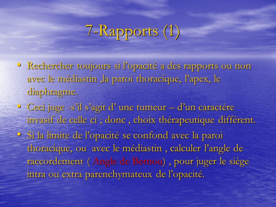 7-Rapports (1) 7-Rapports (1) Rechercher toujours si l'opacité a des rapports ou non avec le médiastin,la paroi thoracique, l'apex, le diaphragme. Rec