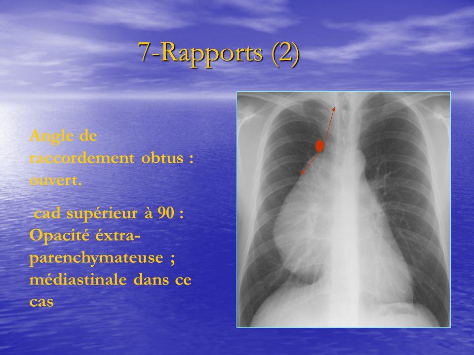 7-Rapports (2) 7-Rapports (2) Angle de raccordement obtus : ouvert. cad supérieur à 90 : Opacité éxtra- parenchymateuse ; médiastinale dans ce cas