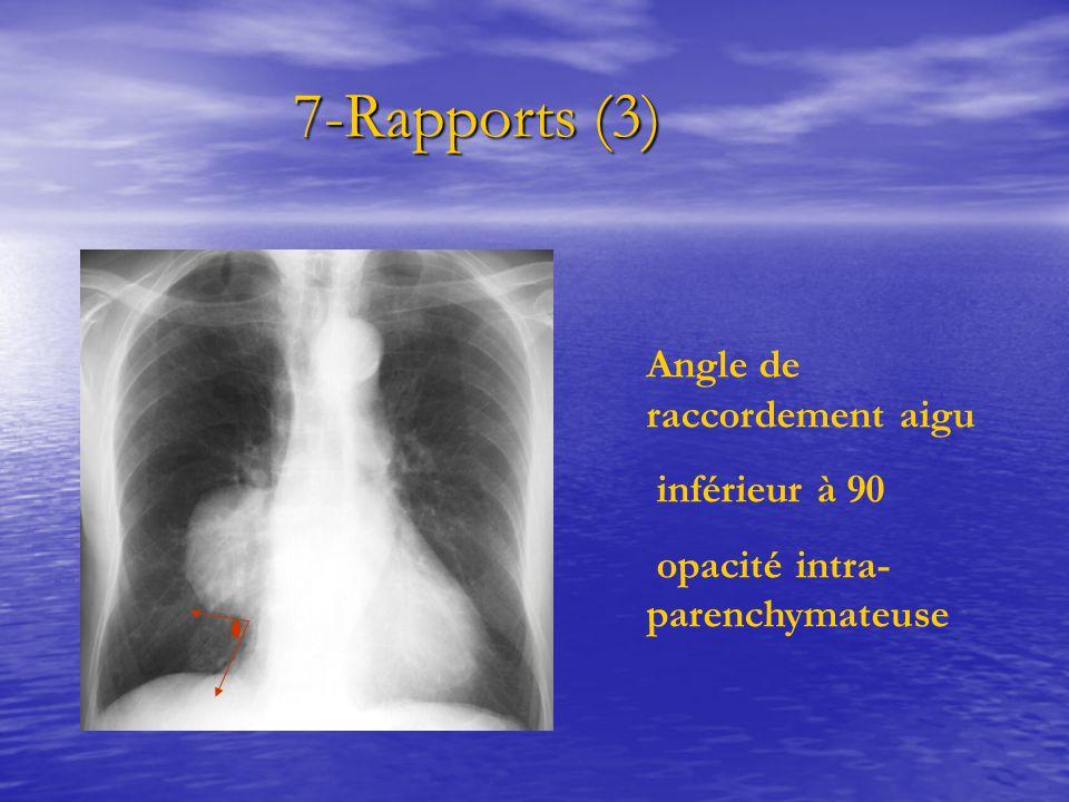 7-Rapports (3) 7-Rapports (3) Angle de raccordement aigu inférieur à 90 opacité intra- parenchymateuse