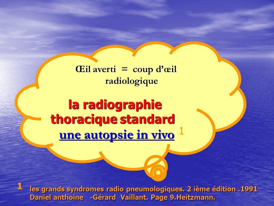 Œil averti = coup d'œil radiologique Œil averti = coup d'œil radiologique la radiographie thoracique standard la radiographie thoracique standard une