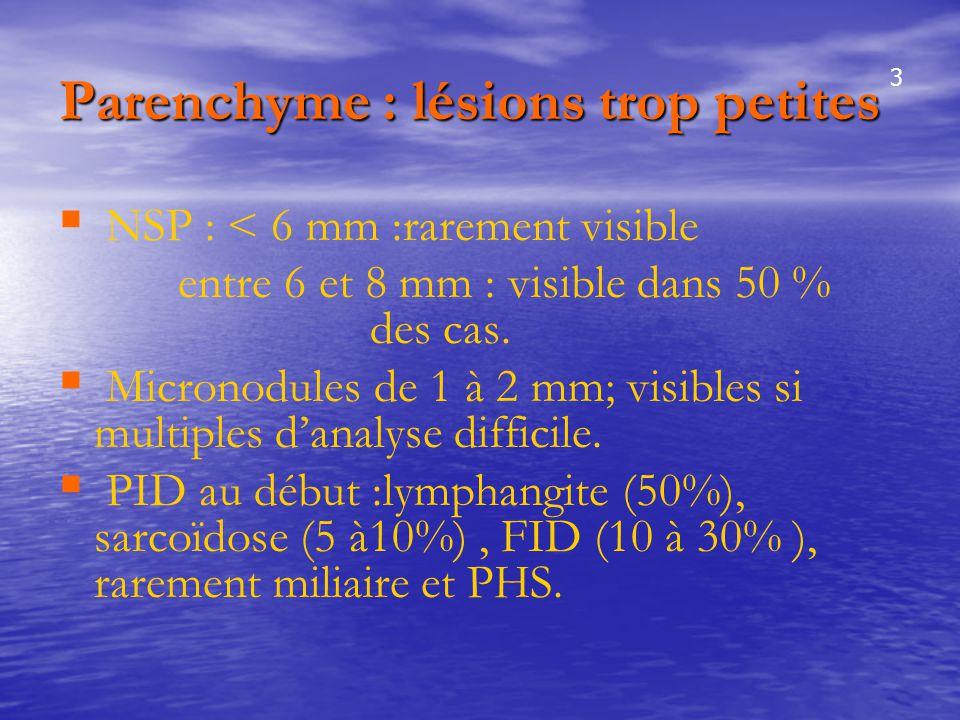 Parenchyme : lésions trop petites   NSP : < 6 mm :rarement visible entre 6 et 8 mm : visible dans 50 % des cas.   Micronodules de 1 à 2 mm; visibl