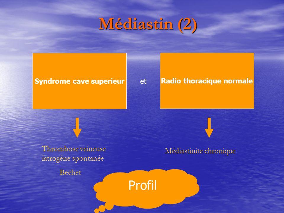 Médiastin (2) Médiastin (2) Syndrome cave superieur Radio thoracique normale Thrombose veineuse iatrogène spontanée Bechet Médiastinite chronique et P